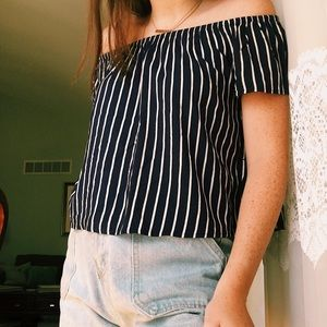H&M Off-the-Shoulder Striped Top